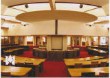 Interior view of the Frank Lloyd Wright-designed E.T. Roux Library (1945)