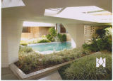 Courtyard pool between the Frank Lloyd Wright-designed Emile E. Watson and Benjamin Fine...